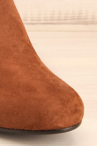 Shilo Tan Brown Suede Ankle Boots with Heel front close-up | La Petite Garçonne