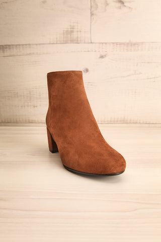 Shilo Tan Brown Suede Ankle Boots with Heel front view | La Petite Garçonne