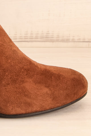 Shilo Tan Brown Suede Ankle Boots with Heel side front close-up | La Petite Garçonne