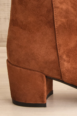 Shilo Tan Brown Suede Ankle Boots with Heel side back view | La Petite Garçonne