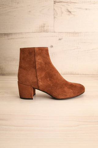 Shilo Tan Brown Suede Ankle Boots with Heel side view | La Petite Garçonne