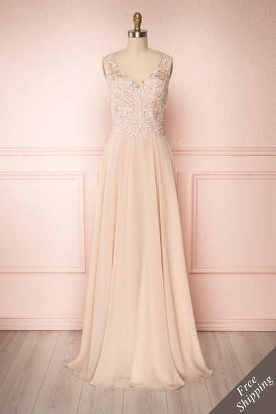 Shinju Beige Maxi Ball Gown with Embellished Bodice | Boutique 1861