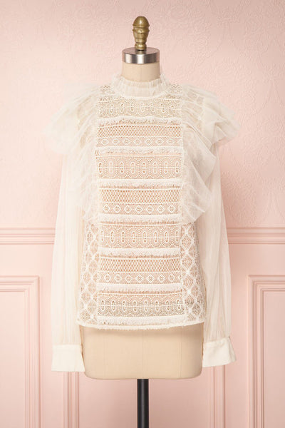 Shinrei Cream Long Sleeved Mesh & Lace Top | Boudoir 1861