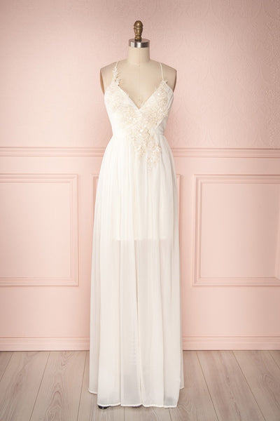 Shio Ivory Chiffon Gown with Sequins & Beads | Boudoir 1861