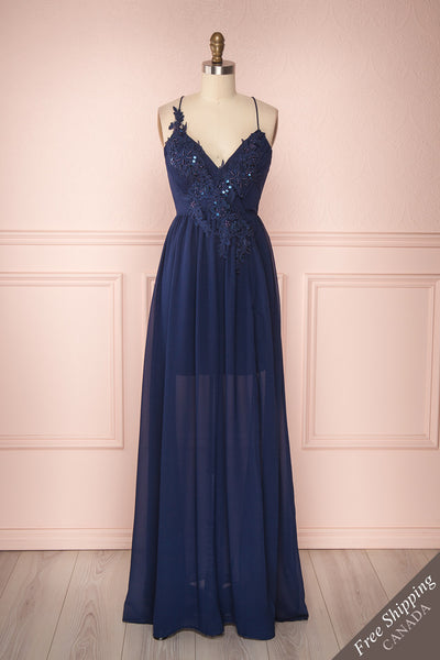 Shio Lapis Navy Chiffon Gown with Sequins & Beads | Boutique 1861