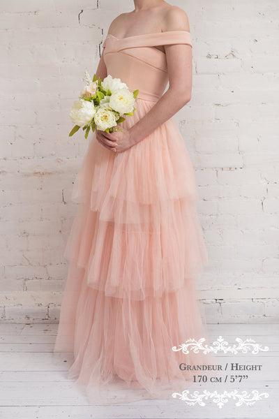 Shiri Rose Light Pink Gown with Layered Tulle Skirt | Boudoir 1861
