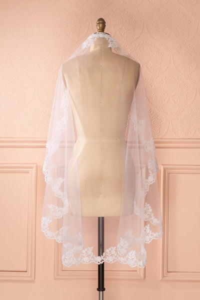 Sidalcée - White embroidered wedding veil
