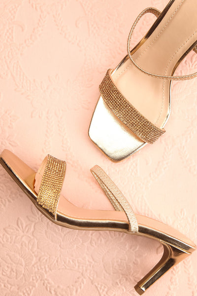 Simart Gold Slip-On Sandal Heels | Talons | Boutique 1861 flat lay