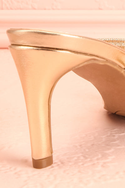 Simart Gold Slip-On Sandal Heels | Talons | Boutique 1861 back close-up