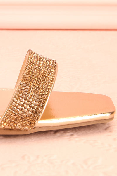 Simart Gold Slip-On Sandal Heels | Talons | Boutique 1861 side front