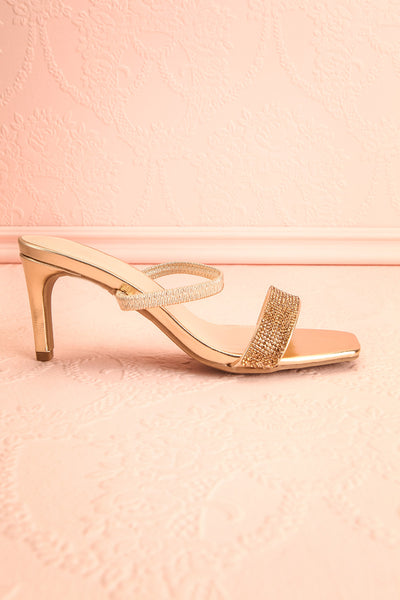 Simart Gold Slip-On Sandal Heels | Talons | Boutique 1861 side view