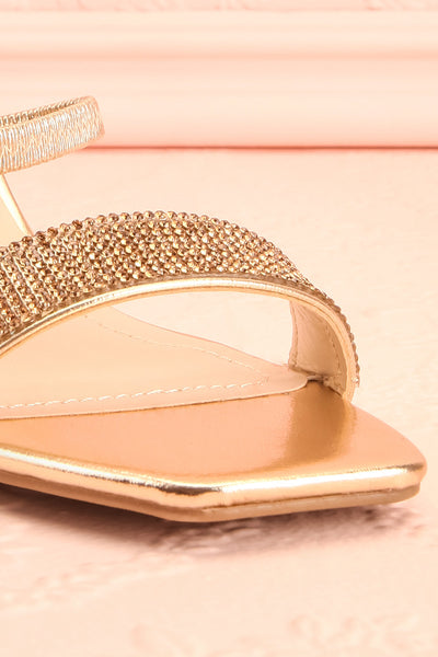 Simart Gold Slip-On Sandal Heels | Talons | Boutique 1861 front close-up