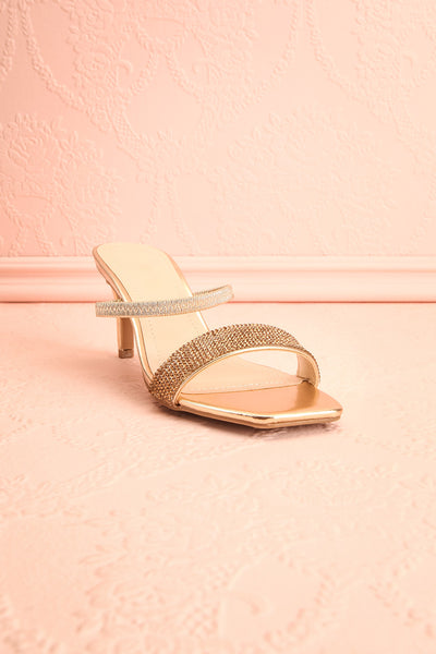 Simart Gold Slip-On Sandal Heels | Talons | Boutique 1861 front view