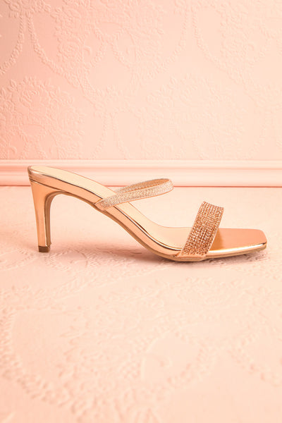 Simart Rosegold Slip-On Sandal Heels | Talons | Boutique 1861 side view