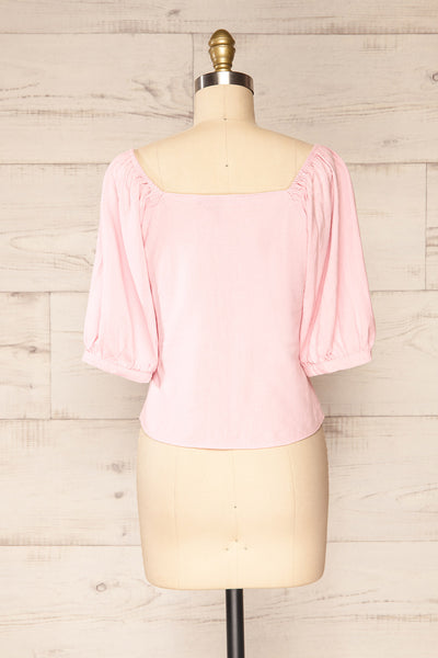 Sines Pink Puffy Sleeve Buttoned Crop Top | La petite garçonne back view