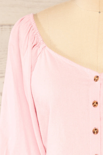 Sines Pink Puffy Sleeve Buttoned Crop Top | La petite garçonne front close-up