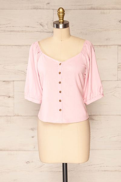 Sines Pink Puffy Sleeve Buttoned Crop Top | La petite garçonne front view