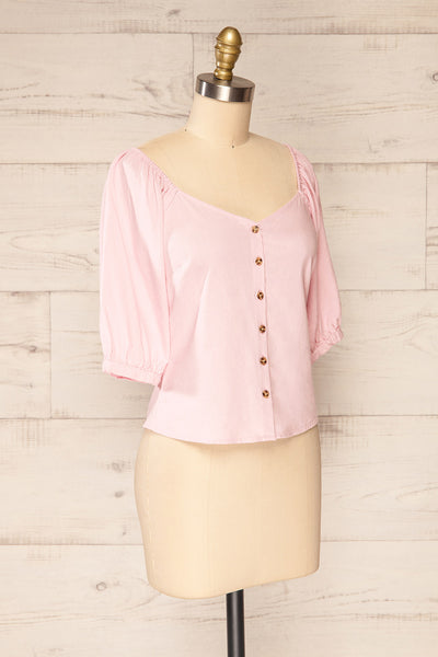 Sines Pink Puffy Sleeve Buttoned Crop Top | La petite garçonne side view