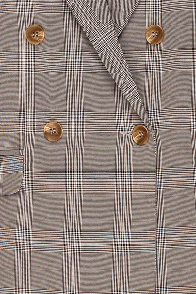 Skerries Gris Grey Plaid Blazer | Veston fabric close up | La Petite Garçonne