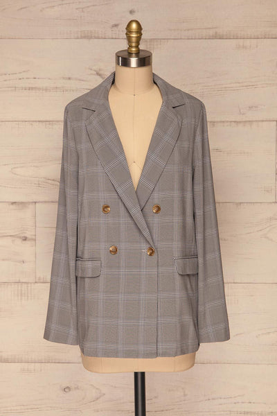 Skerries Gris Grey Plaid Blazer | Veston front view | La Petite Garçonne