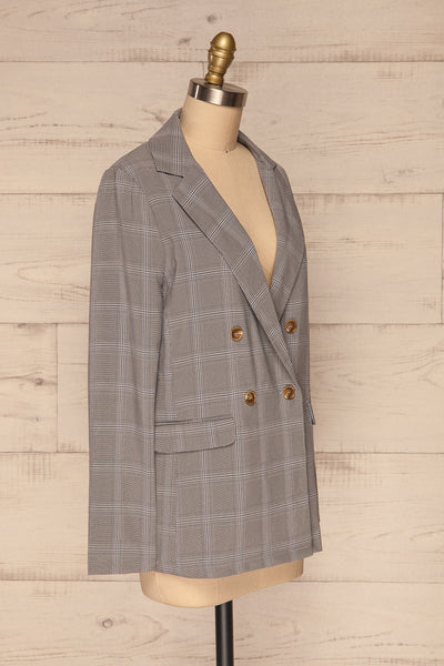 Skerries Gris Grey Plaid Blazer | Veston side view | La Petite Garçonne