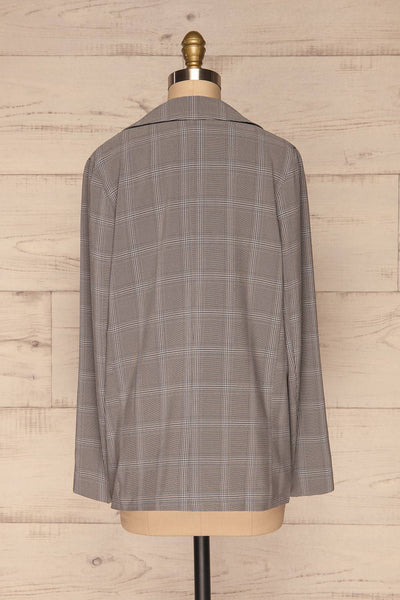 Skerries Gris Grey Plaid Blazer | Veston back view | La Petite Garçonne