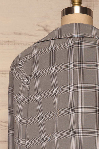 Skerries Gris Grey Plaid Blazer | Veston back close up | La Petite Garçonne