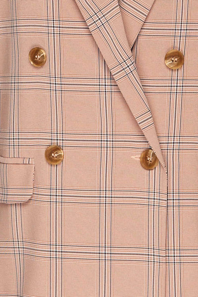Skerries Rose Pink Plaid Blazer | Veston fabric close up | La Petite Garçonne