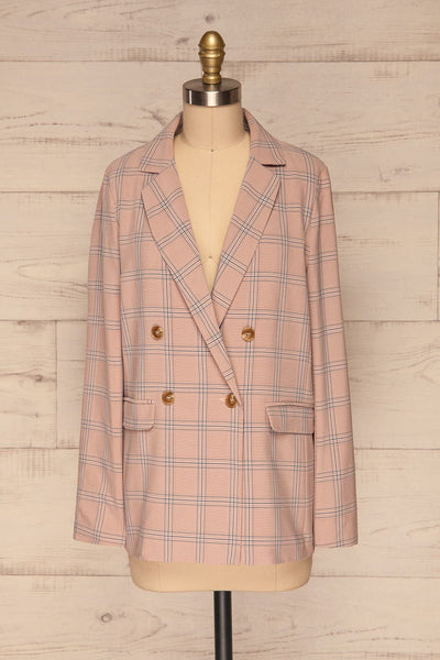 Skerries Rose Pink Plaid Blazer | Veston front view | La Petite Garçonne