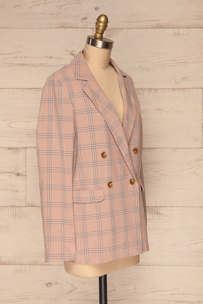 Skerries Rose Pink Plaid Blazer | Veston side view | La Petite Garçonne