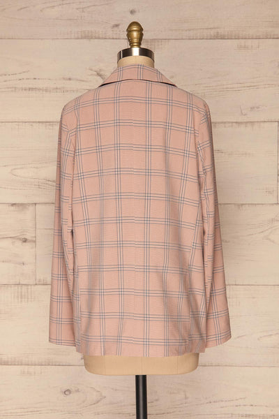 Skerries Rose Pink Plaid Blazer | Veston back view | La Petite Garçonne