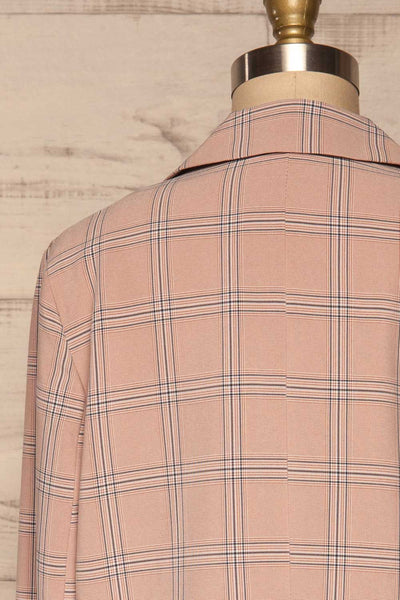 Skerries Rose Pink Plaid Blazer | Veston back close up | La Petite Garçonne