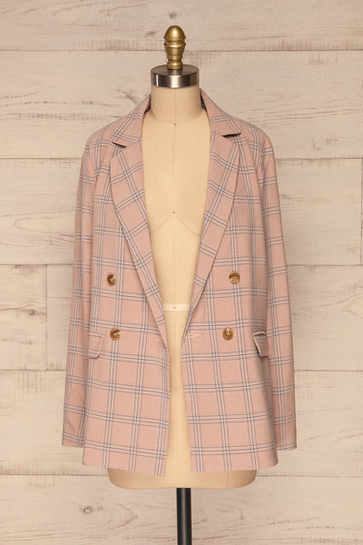 Skerries Rose Pink Plaid Blazer | Veston front view open | La Petite Garçonne