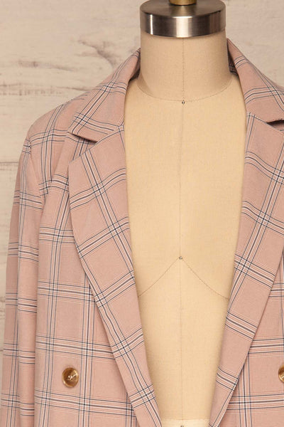Skerries Rose Pink Plaid Blazer | Veston front close up open | La Petite Garçonne