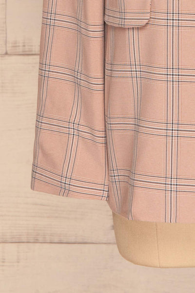 Skerries Rose Pink Plaid Blazer | Veston sleeves close up | La Petite Garçonne