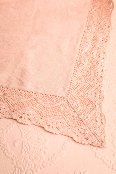 Jacquard Tablecloth Blush w Crochet Lace Trim | Boutique 1861