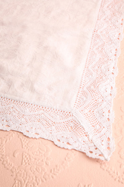 Jacquard Tablecloth Ivory w Crochet Lace Trim | Boutique 1861