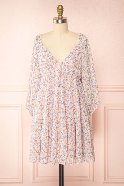 Snofried Pink Long Sleeve V-Neck Floral Dress | Boutique 1861  front view