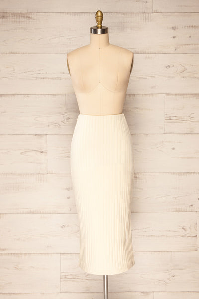 Solca Beige Ribbed High-Waisted Midi Skirt | La petite garçonne front view