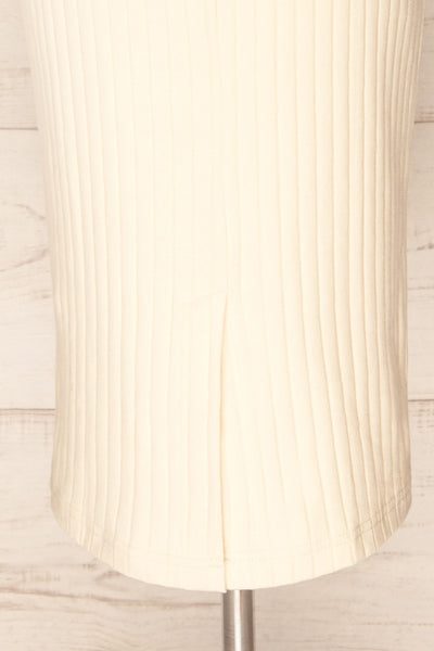 Solca Beige Ribbed High-Waisted Midi Skirt | La petite garçonne back close-up