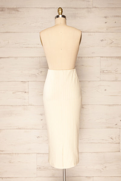 Solca Beige Ribbed High-Waisted Midi Skirt | La petite garçonne back view