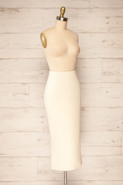 Solca Beige Ribbed High-Waisted Midi Skirt | La petite garçonne side view