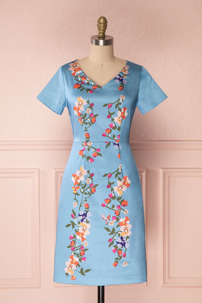 Soleina Sky Blue Floral Silky A-line Cocktail Dress | Boutique 1861