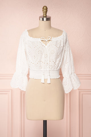 Solime White Lace Crop Top w/ Puff Sleeves | Boutique 1861