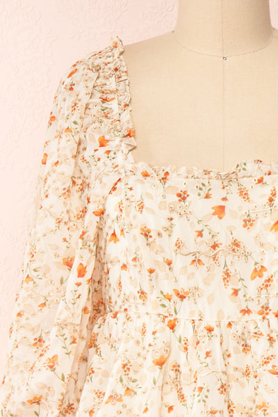 Sophie-Anne Beige Floral Layered Midi Dress | Boutique 1861 front close-up