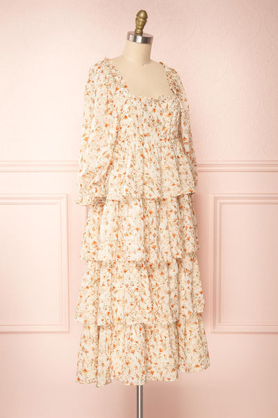 Sophie-Anne Beige Floral Layered Midi Dress | Boutique 1861 side view