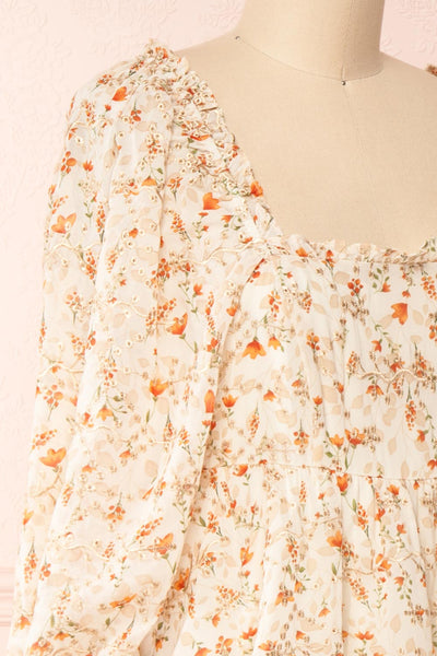 Sophie-Anne Beige Floral Layered Midi Dress | Boutique 1861 side close-up