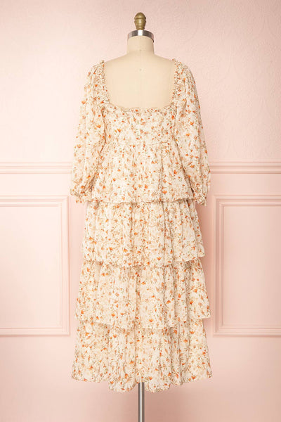 Sophie-Anne Beige Floral Layered Midi Dress | Boutique 1861 back view