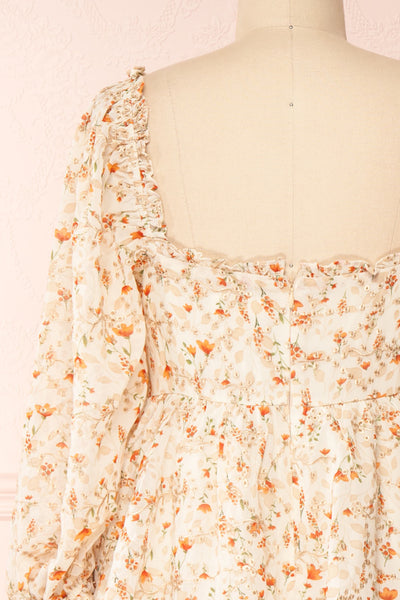Sophie-Anne Beige Floral Layered Midi Dress | Boutique 1861 back close-up