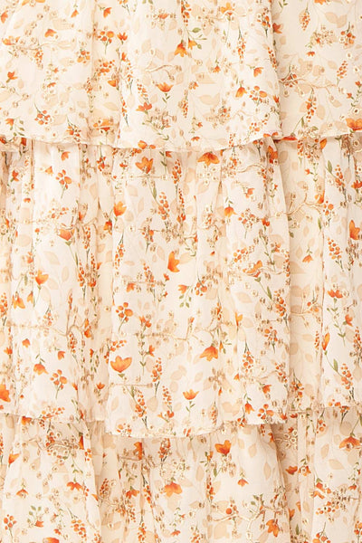 Sophie-Anne Beige Floral Layered Midi Dress | Boutique 1861 fabric
